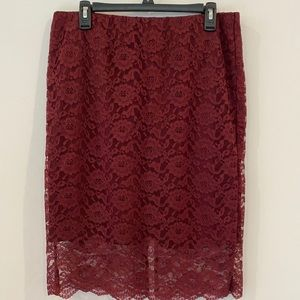 Massimo Burgundy Stretch Pencil Skirt